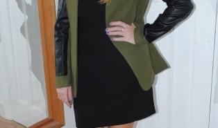 OOTD: Khaki Jacket with Leather Sleeves