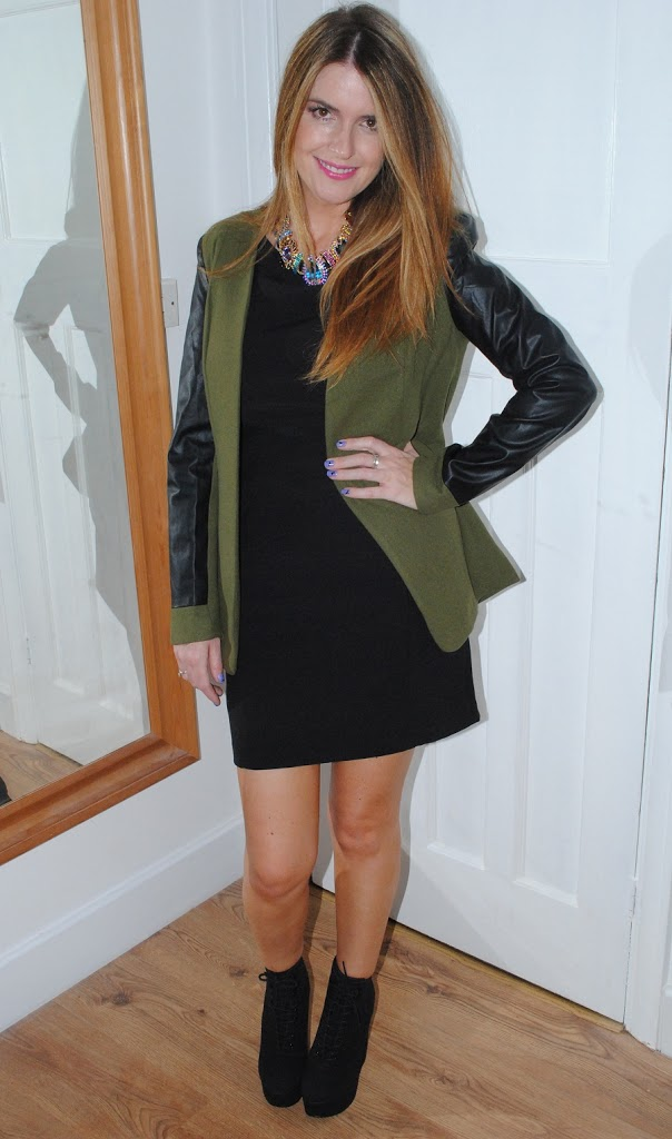 OOTD: Khaki Jacket with Leather Sleeves - Really Ree