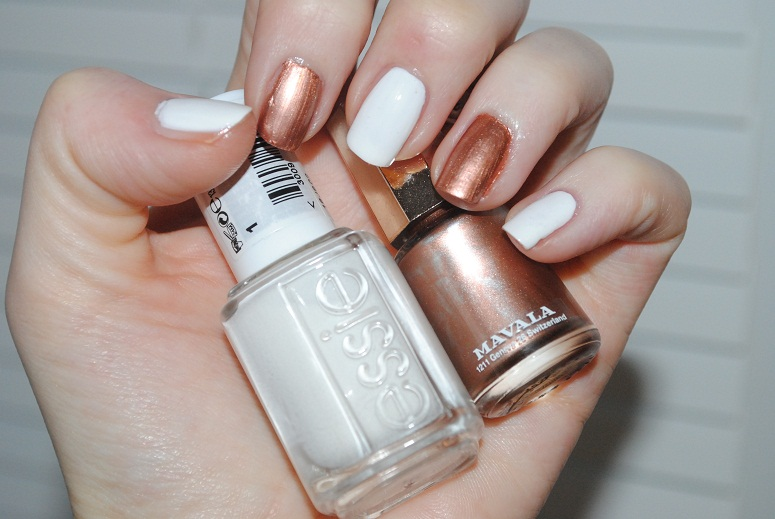 Essie Blanc and Mavala Copper Gold Nails - Really Ree