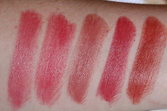 clarins-joli-rouge-2015-swatches-candy-rose-raspberry-rose-berry-grenadine-spicy-cinnamon