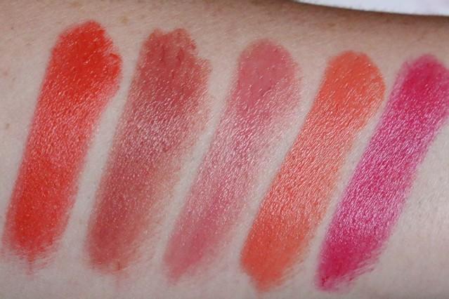 clarins-joli-rouge-2015-swatches-orange-fizz-soft-berry-petal-pink-papaya-hot-pink