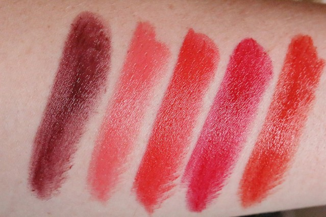 clarins-joli-rouge-2015-swatches-royal-plum-bright-coral-red-orange-joli-rouge-cherry-red