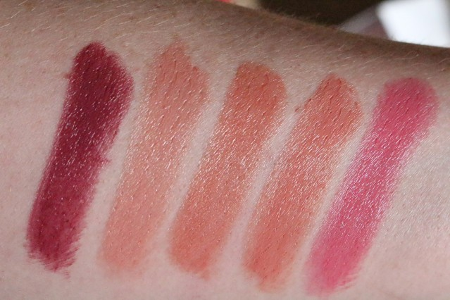 clarins-joli-rouge-2015-swatches-soft-plum-pink-praline-tender-nude-rosy-nude-delicious-pink