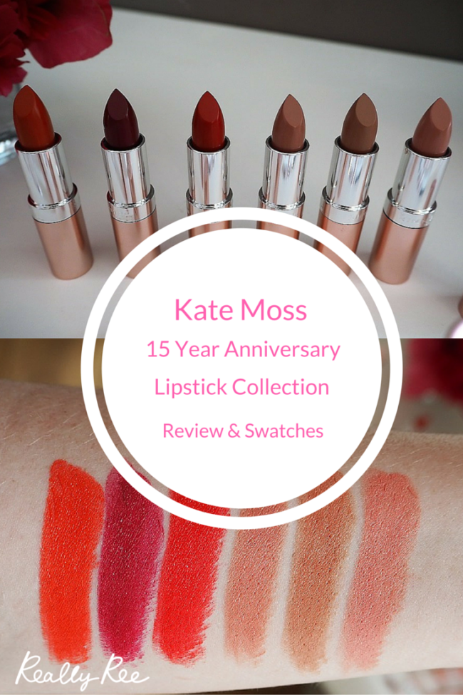 Kate Moss 15 year Anniversary Collection contains a range of nudes and reds. The coverage of these lipsticks is really good. They have a really high intensity colour and it infused light-reflecting Black Diamonds. They each offer up to 8 hours of wear with a smooth, creamy texture.