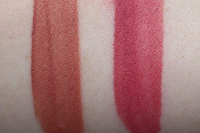 Huda Beauty Liquid Matte Swatches - Bombshell & Gossip Gurl