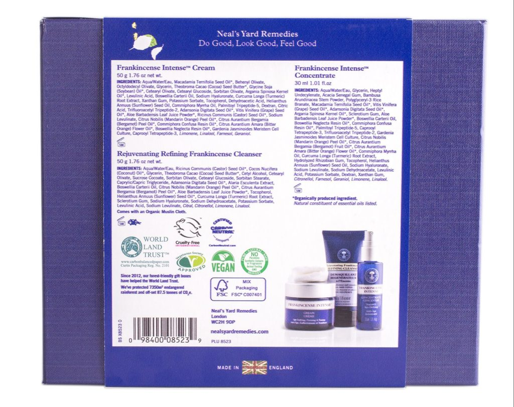 Neal's Yard Frankincense Intense Organic Beauty Collection Ingredients