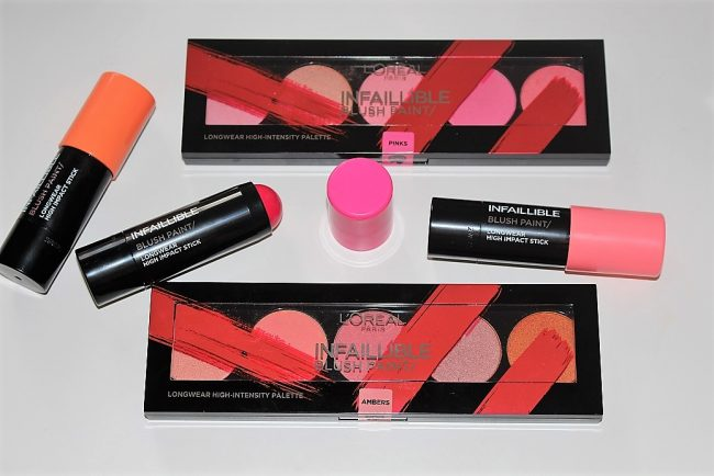 L'Oreal Infallible Blush Paint Palettes & Sticks Review & Swatches