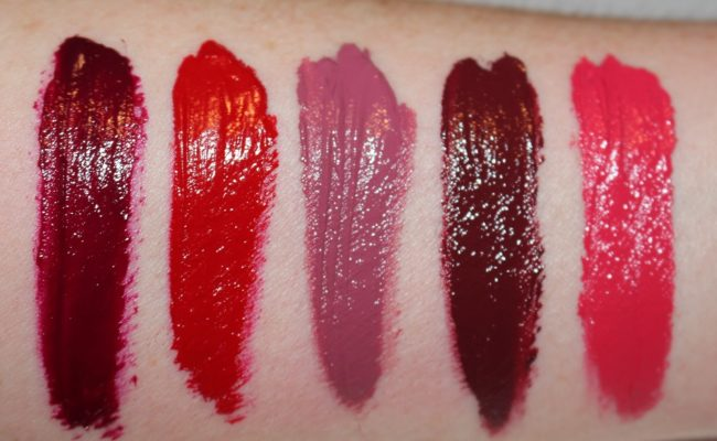 Bobbi Brown Art Stick Liquid Lip Swatches - Boysenberry, Uber Red, Pink Heather, Plum Noir & Pink Punch