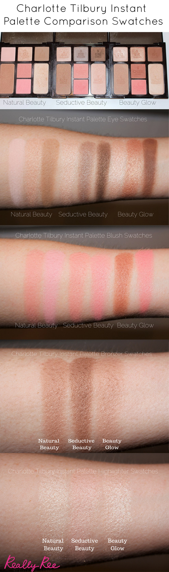 Charlotte Tilbury Instant Palette Comparison Swatches - Natural Beauty, Seductive Beauty, Beauty Glow -Click through to see the full comparison swatches and read the reviews.