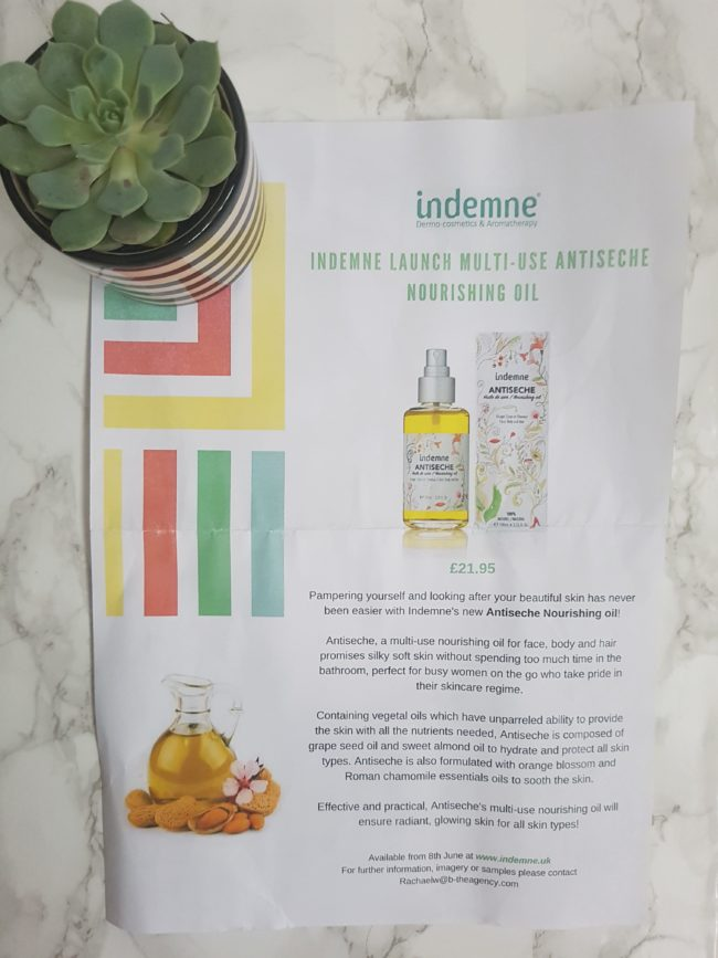 Indemne Antiseche Nourishing Oil Review
