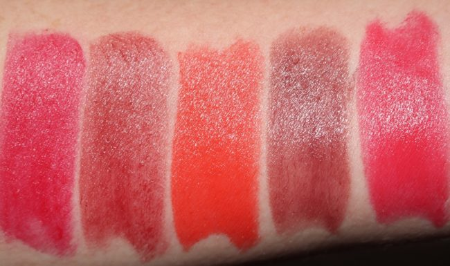 Bobbi Brown Crushed Lip Color - Regal, Ruby, Sunset, Telluride, Watermelon Swatches