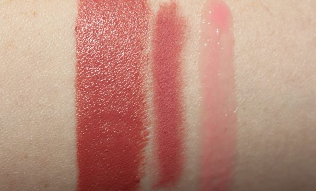 Charlotte American Sweetheart Swatch (with Pink Venus Lip Cheat & Portobello Girl Lip Lustre)