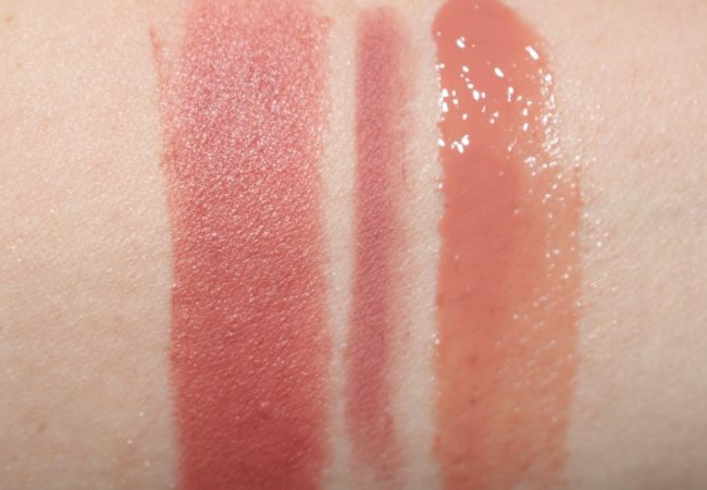 Charlotte Tilbury English Beauty Lipstick Swatch (with Pillow Talk Lip Cheat & Seduction Lip Lustre)