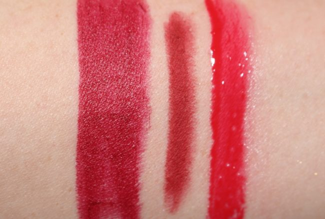 Charlotte Shanghai Nights Lipstick Swatch (with Savage Rose Lip Cheat & Red Vixen Lip Lustre)
