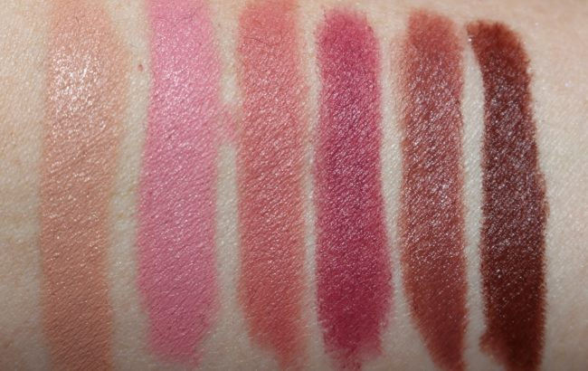 Laura Mercier Velour Extreme Matte Lipstick Swatches - Respect, Ruthless, Vibe, Fresh, Fierce & Rock