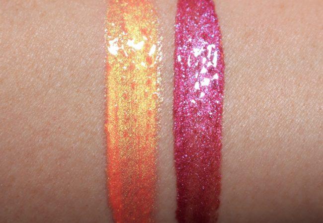 MAC Grand Illusion Glossy Liquid Lipcolour UK Swatch - Electric Rainbow & Pearly Girl