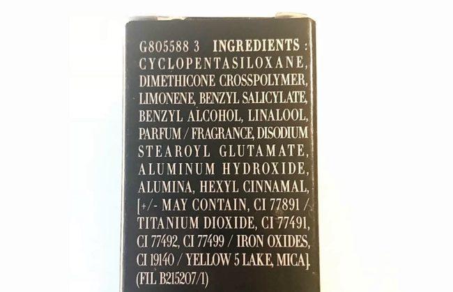 Giorgio Armani Face Fabric 2018 Ingredients