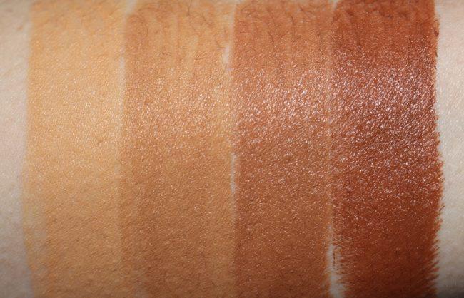 Barry M All Night Long Foundation Stick Swatches - Almond, Waffle, Fudge, Hazelnut