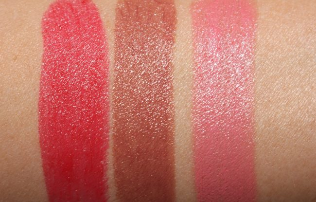 MAC Plenty of Pout Plumping Lipstick Swatches - Crazy Lush, So Swell, Nicer Than Nice