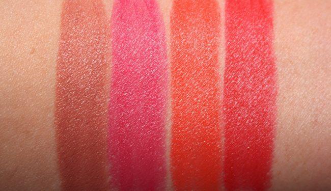 Sisley Le Phyto Rouge Lipstick Swatches - 11 Beige Tahiti, 23 Rose Delhi, 31 Orange Acapulco, 40 Rouge Monaco