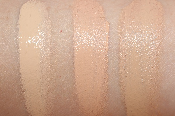 Hourglass Vanish Seamless Finish Liquid Foundation Swatches - Porcelain, Vanilla, Shell.