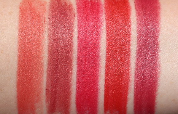 Hot Lips 2: Carina's Star, Viva La Vergara, Patsy Red, Red Hot Susan, Amazing Amal Swatches