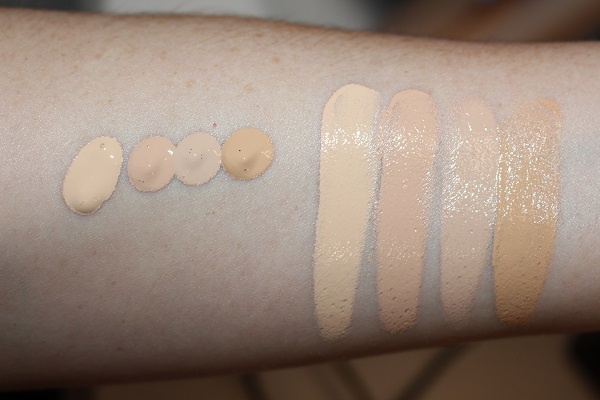 Anastasia Luminous Foundation Swatches - 120W, 140N, 150W and 210N