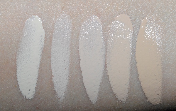 Surratt Dew Drop Foundation Swatches - 1, 1.5, 2, 3, 4