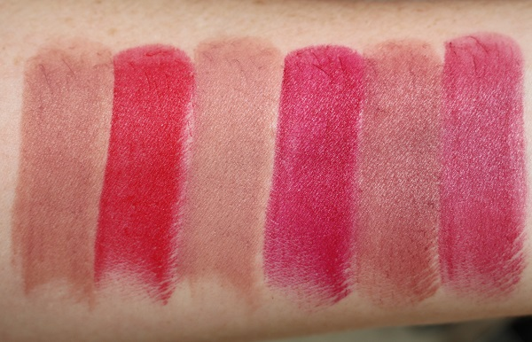 Swatches - Matte: Boukhara, Inappropriate Red, Pour Toujours, Force Speciale, Lovin' Lips, Jolie Mome