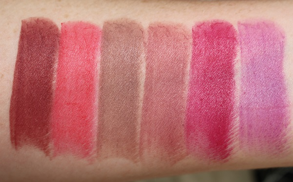 Swatches - Matte: Erotic Adventure, Ravishing Red, Raw Love, Hot Kiss, Full Time Females, Candy Stripper