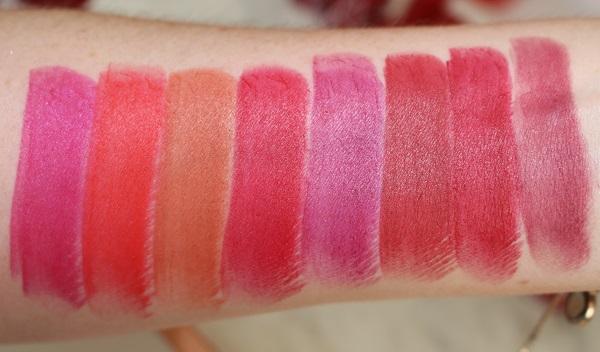 Original Lipstick Swatches - Matte: Funny Face, Heatwave, Morocco, Red Lizzard, Scarlet Empress, Shanghai Express, Trans Siberian, Transeurope Express
