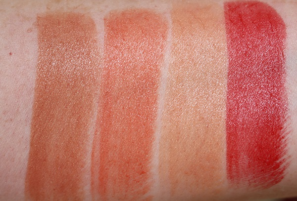 Original Lipstick Swatches - Satin: Blonde Venus, Casablanca, Honolulu Honey, Jungle Red