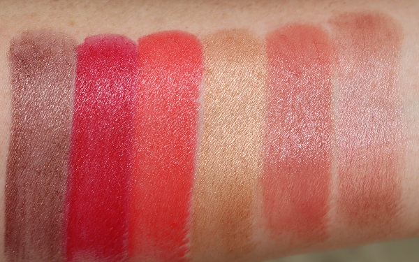 Swatches - Satin: Maltese Red, Bad Reputation, Rouge Insolent, Miramar, Raw Seduction, Cool It