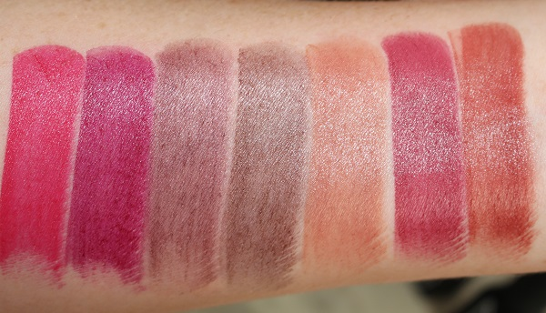 Swatches - Satin: Damage Control, Impulse, Hot Channel, Heroine Red, Rosecliff, Afghan Red, Banned Red