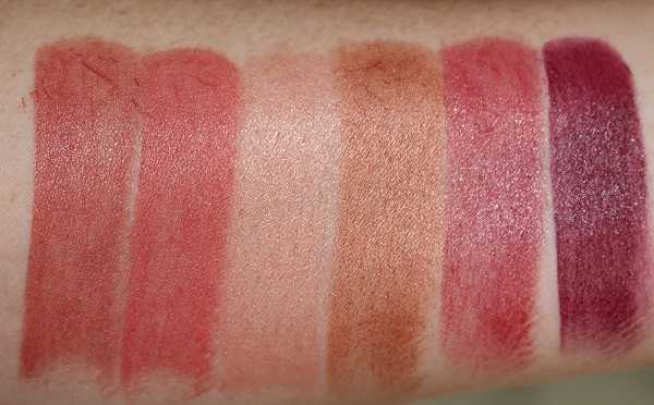 Swatches - Satin: Tolede, Niagara, Orgasm, Hot Voodoo, Dressed to Kill, Opulent Red