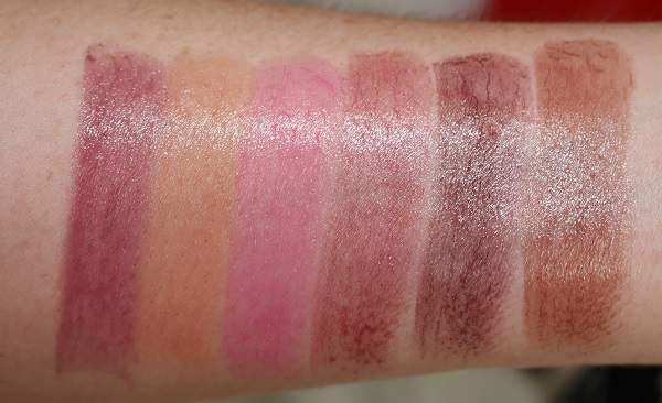 Swatches - Sheer: Damage, Belle de Jour, Roman Holiday, Shrinagar, Fast Ride, Tanganyka